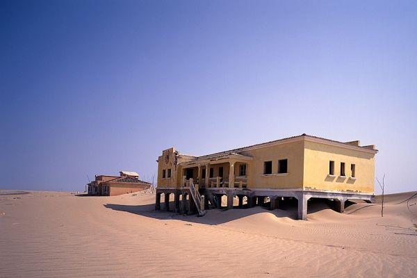 Deserted Buildings on Sand Dune, Baia dos Tigres, Angola