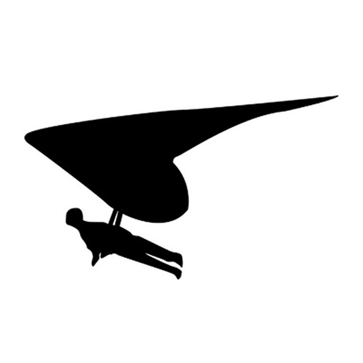 14.5*8.5CM Car Sticker Decals GLIDER Glider Paragliding Motorcycle Stickers Car Styling Accessories Black/Silver