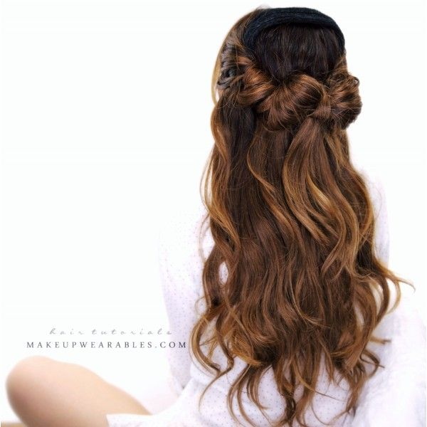 How to Half-Up Hair Bow Bun Tutorial Everyday Hairstyles ❤ liked on Polyvore featuring hair and hair styles
