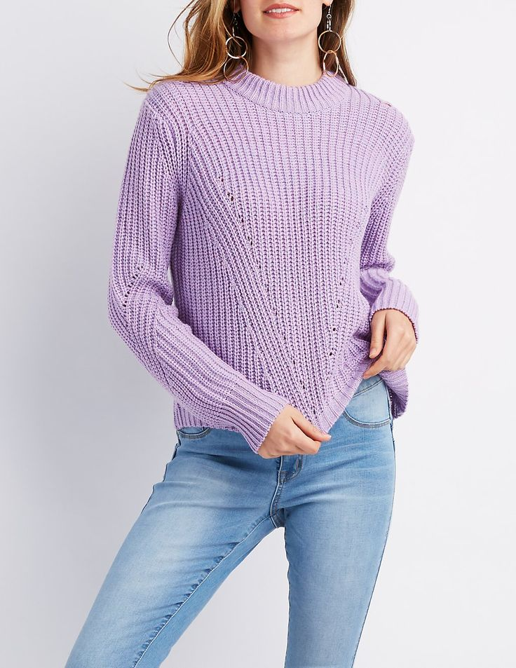 A relaxed fit pairs with a super soft cable knit pattern to create the coziest pullover sweater! A casual crew neckline tops sits between long sleeves that flank the sides of the lattice designed bodice. Ribbed knit trims the edges of this classic look!