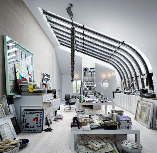 Amazing Loft-Studio of Artist Carouschka Streijffert in Stockholm: Home Interiors, Studios Spaces, Art Studios, Work Spaces, Interiors Design, Workspaces, Design Home, Houses Design, Art Rooms