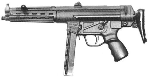 HK MP-54, or HK 54 - a prototype submachine gun (1965). Earlier MP-5A1 adopted by German police and Border Guard looked the same. Note that the sights and the muzzle are different from the latter models.