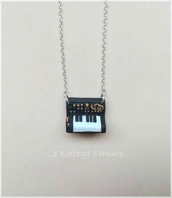 Synth Keyboard Piano Fimo Clay Synth Analogue Music Necklace Mini Moog Miniature Korg MS-20 Analogico Sintetizzatore Tastiera Pianoforte
