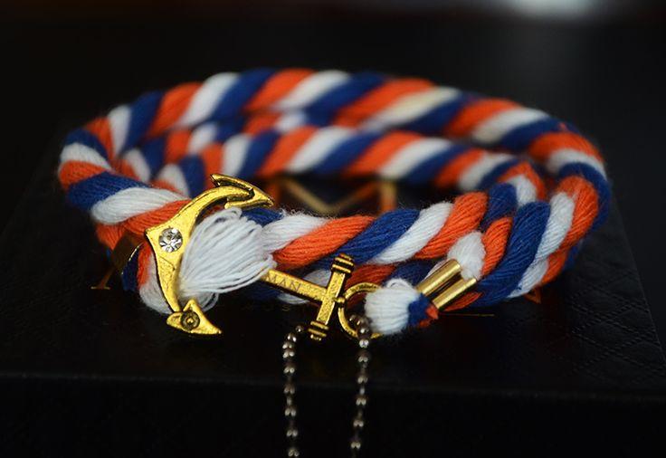 Vintage Orange , Blue & White Anchor Rope Bracelet.