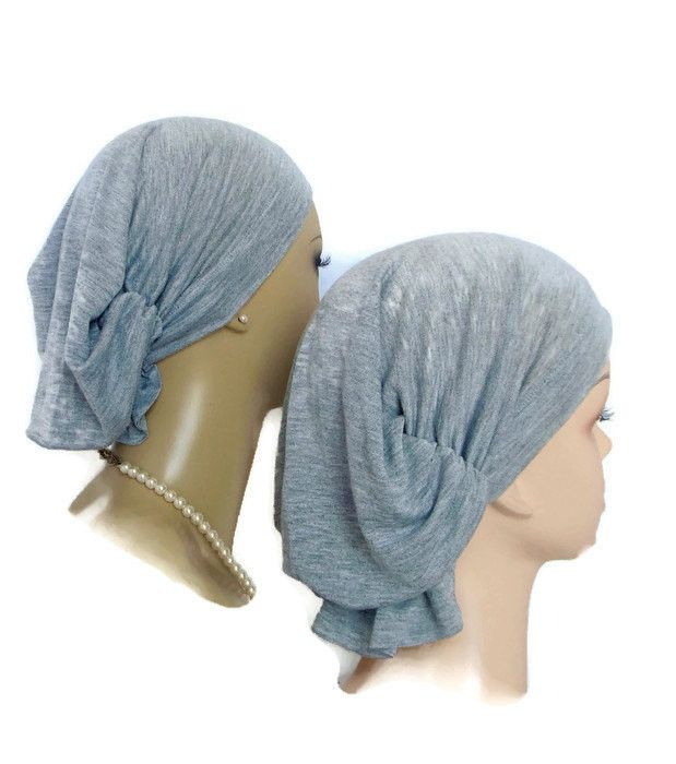 Hair Snood | Gray Jersey with Touch of Metallic Turban | Volumizer Che – My-S-Cap