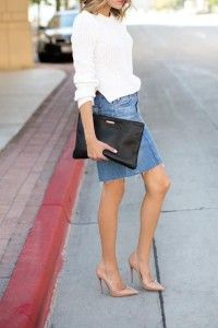 Denim shirt with white jumper, black clutch and brown pumps. Learn how to wear denim this fall 2015 >>> http://justbestylish.com/how-to-wear-denim-this-fall-2015/