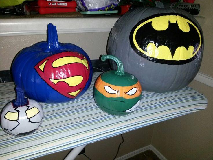 Kid Friendly Not Scary Halloween Pumpkins- Super heroes More