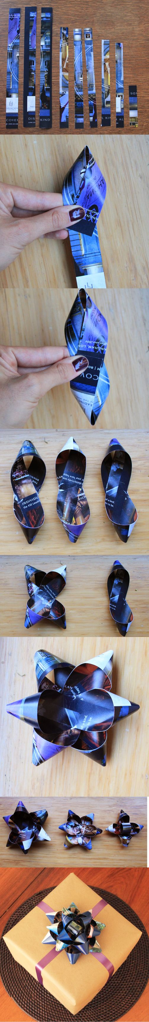 How to make a gift bow // Life is Made with Katie Miles // www.lifeismade.com  #package #bow #diy #recycle #upcycle #tutorial #gift #present