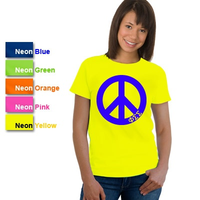 Phi Sigma Sigma Sorority Neon Peace Sign Printed T-Shirt $16.95 #PhiSig #PhiSigmaSigma #Greek #Sorority #Clothing #Peace #PrintedShirt: Sorority Clothing, Greek Sorority, Peace Signs, Neon Peace, Kappa Alpha Theta, Prints Tees, Signs Prints, Prints Tshirt, Prints T Shirts