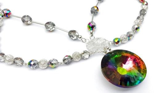 Vitrail Glass Pendant and Czech Bead Choker Necklace by shinycatcreations http://ift.tt/2jhrLnu Free eBook at http://ift.tt/219cweU with easy jewelry making projects.  Vitrail Glass Pendant and Czech Bead Choker Necklace by...
