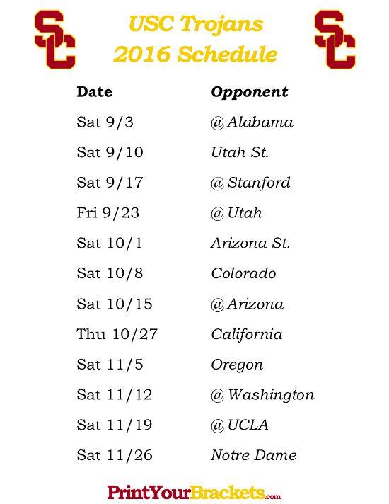 Printable USC Trojans Football Schedule 2016