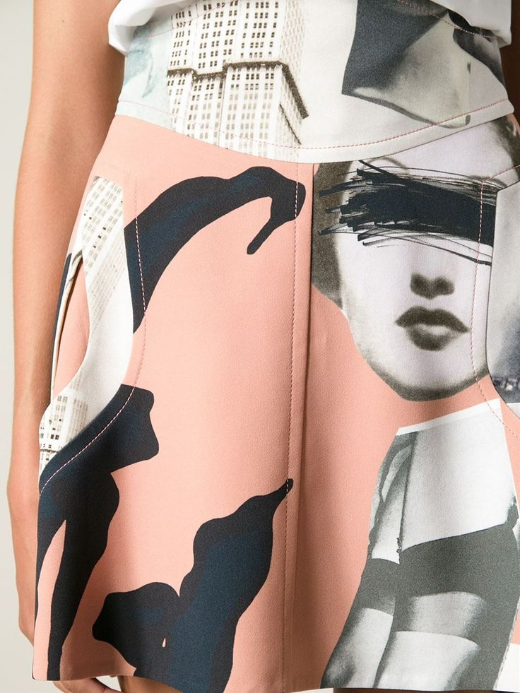 Shop CARVEN collage print skirt from Farfetch