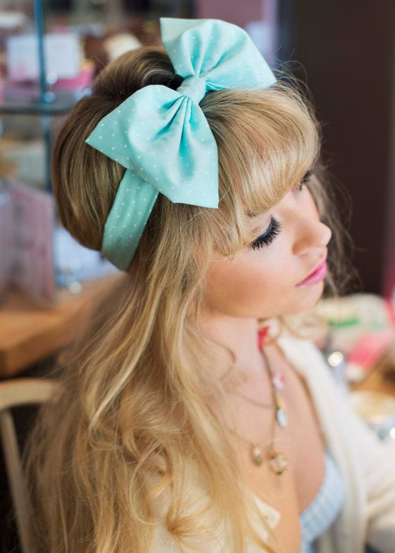 Bow Headband, Dolly Bow, Pastel Bow Headband, Rockabilly Pin Up Girl Headband, Oversized Bow Headband, Kawaii Lolita Headband in MINT GREEN on Etsy, £12.00
