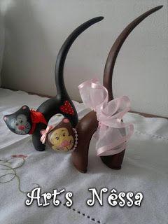 Art's Nêssa - Artesanato: Casal gato porta anel