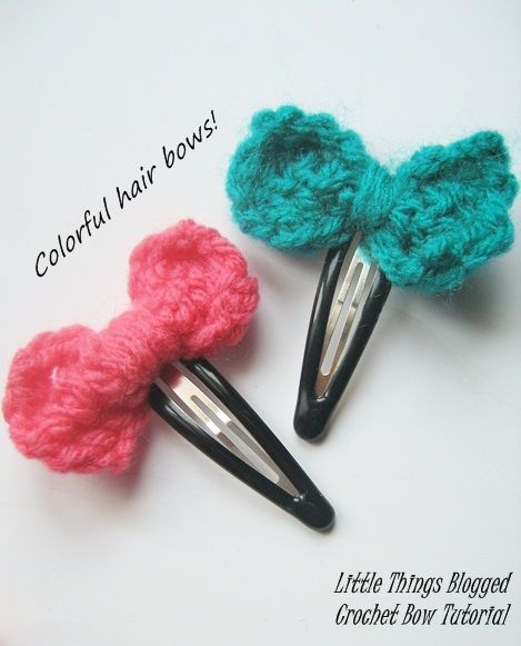 Crochet Hair Accessories Tutorial : Crochet Bows -TUTORIAL- hair clips! Pinterest