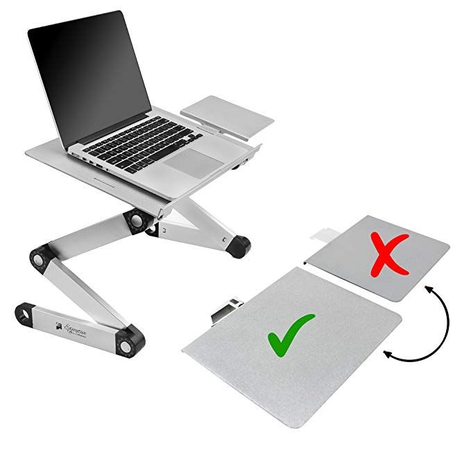 Portable Adjustable Aluminum Laptop Desk Stand Table Vented W Cpu