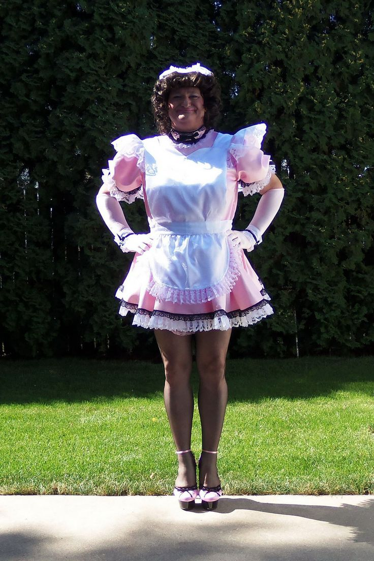 Posing in my pink French Maid Uniform