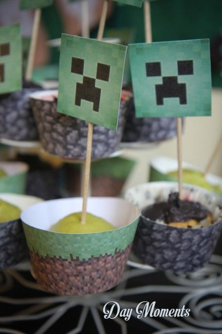 Anniversaire Minecraft » Day Moments cupcakes minecraft