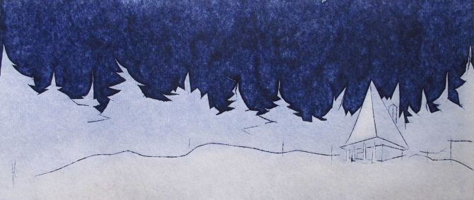 Au clair de la lune; This side of the blue Christmas and New Year celebration postcard 2015 [metallic board etching]