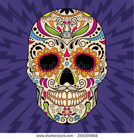 Mexican skull, the original pattern. vector illustration - stock vector