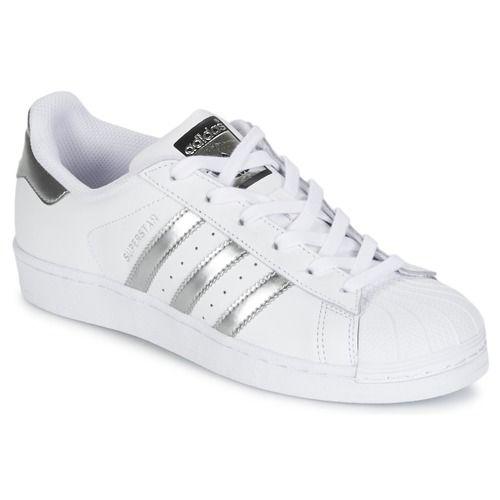 Adidas Originals SUPERSTAR Blanc/Argent/Noir pas cher prix Baskets Femme Shoes.fr 94.99 €
