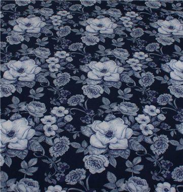 marineblå jersey med blomster - oeko tex 100