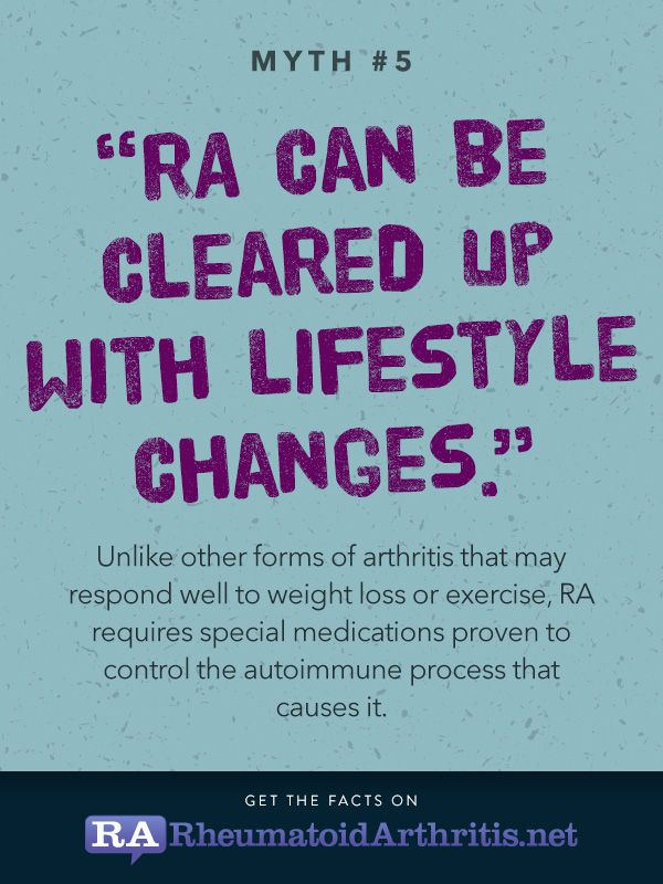 "RA myths and misconceptions. Shouldn't say ""other forms of arthritis..."" because rheumatoid disease is not a type of arthritis. Arthritis in r.d. is a symptom. Just like rheumatoid disease is not a type of flare. A flare in r.d. is a symptom."