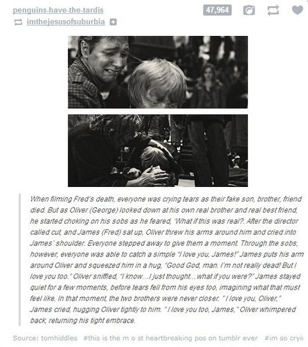 """And of course, this story of the Phelps twins filming Fred's death scene.   29 Times Tumblr Made """"Harry Potter"""" Fans Cry All Over Again"""