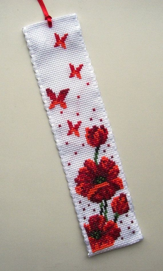 ANZAC - Cross Stitched Red Poppies Butterflies Bookmark.