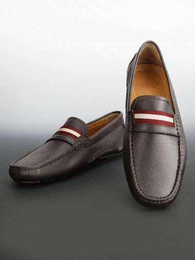 Bally Men's Wabler Trainspot Chocolate Leather Loafer Driver Shoes 8/41 NIB $495