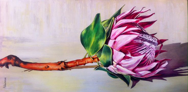 Protea painting. Acrylic on canvas by Molawrenson