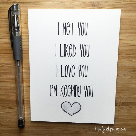 Cute Love Card Anniversary Card  Love Greeting by YeaOhGreetings