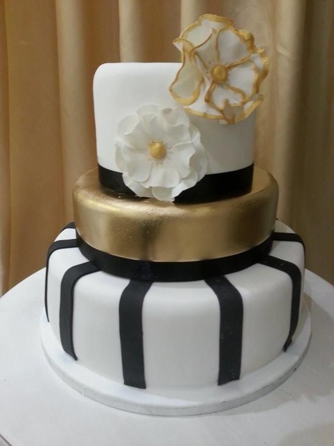 GOLD BLACK AND WHITE WEDDING CAKE - Cake by Christina Papadopoulou