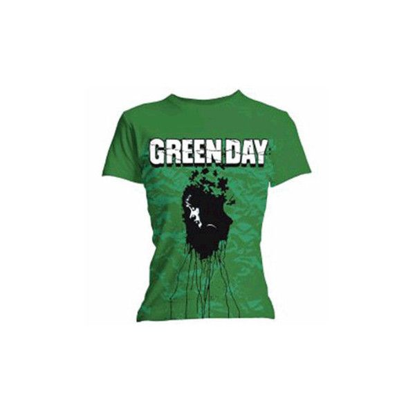 Green Day Puzzle Skinny T-Shirt (Green) ($18) ❤ liked on Polyvore featuring tops, t-shirts, shirts, band merch, band shirt, band tees, green t shirt, green shirt, holiday shirts and shirt top