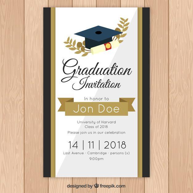 Elegant Graduation Invitation Template With Golden Style Graduation Invitation Cards Graduation Invitations Graduation Invitations Template
