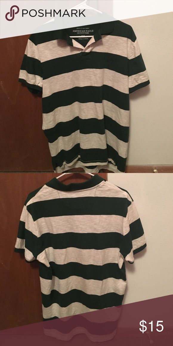 Mens short sleeve polo Green and white striped polo. 2 buttons at neck. Athletic fit. American Eagle Outfitters Shirts Polos