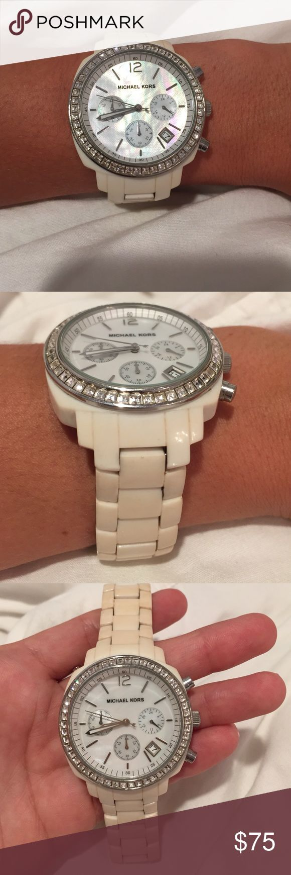 Michael Kors White Women's Watch Michael Kors White Women's Watch. Battery needs to be replaced, but in good condition. Michael Kors Accessories Watches