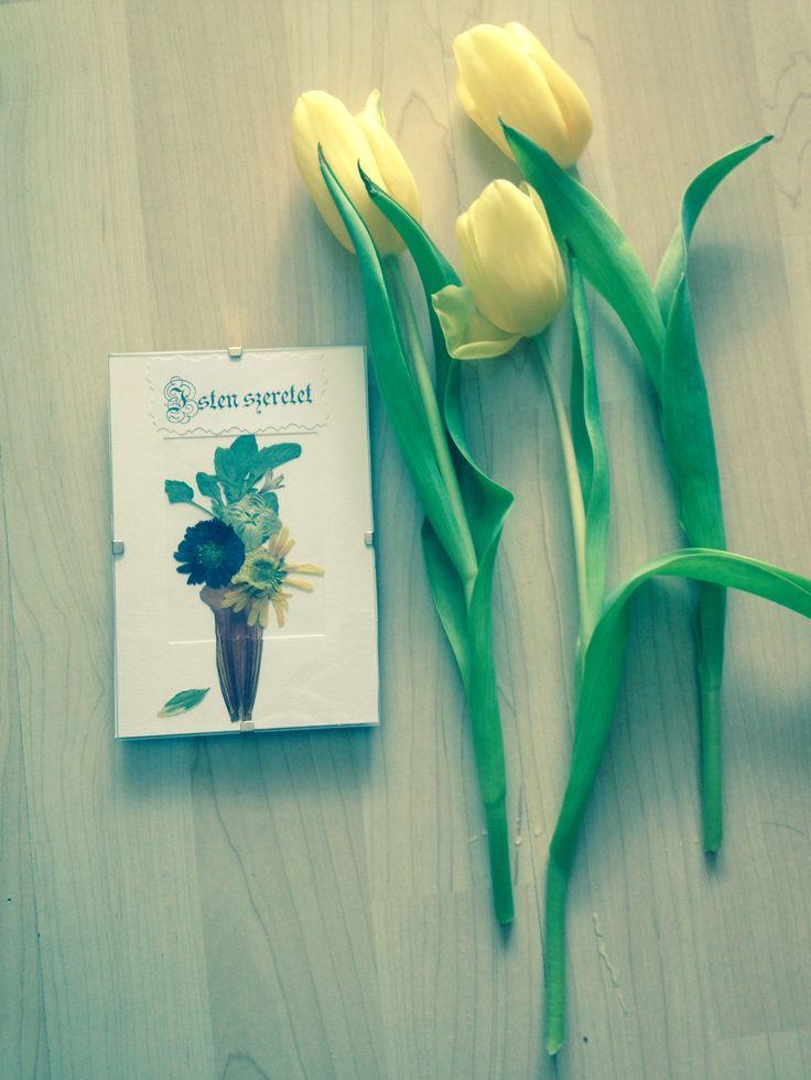 Préselt virágból készült kisméretű falikép Tulipán Pressed flower picture and tulips