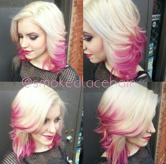 Blonde and pink dyed hair