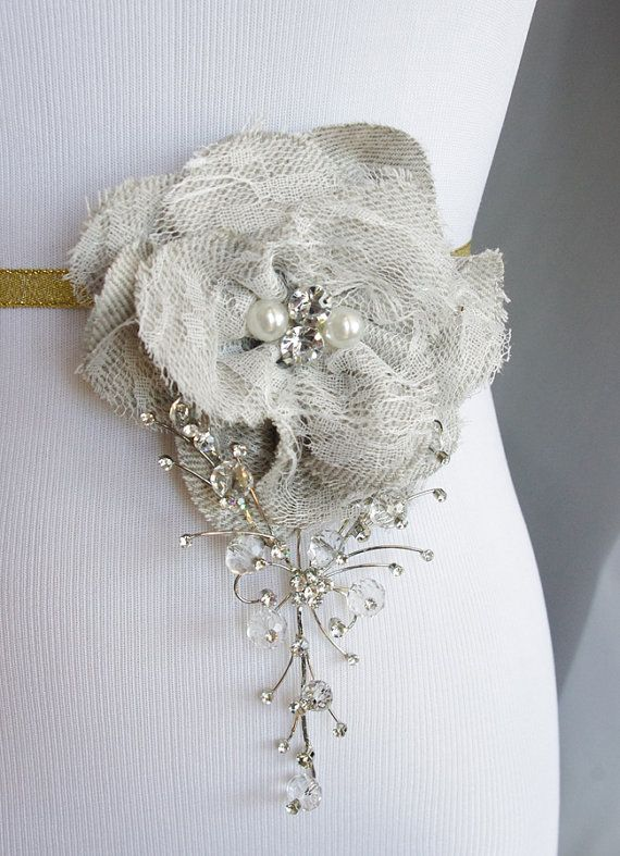 86 best sash ideas images on pinterest wedding ribbons wedding items similar to rustic bling lace and natural fabric shabby chic grey champagne flower wedding belt clip cascading crystals on etsy junglespirit Images