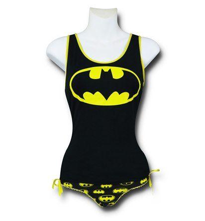 Images of Batman Lace-Back Tank & Panty Set