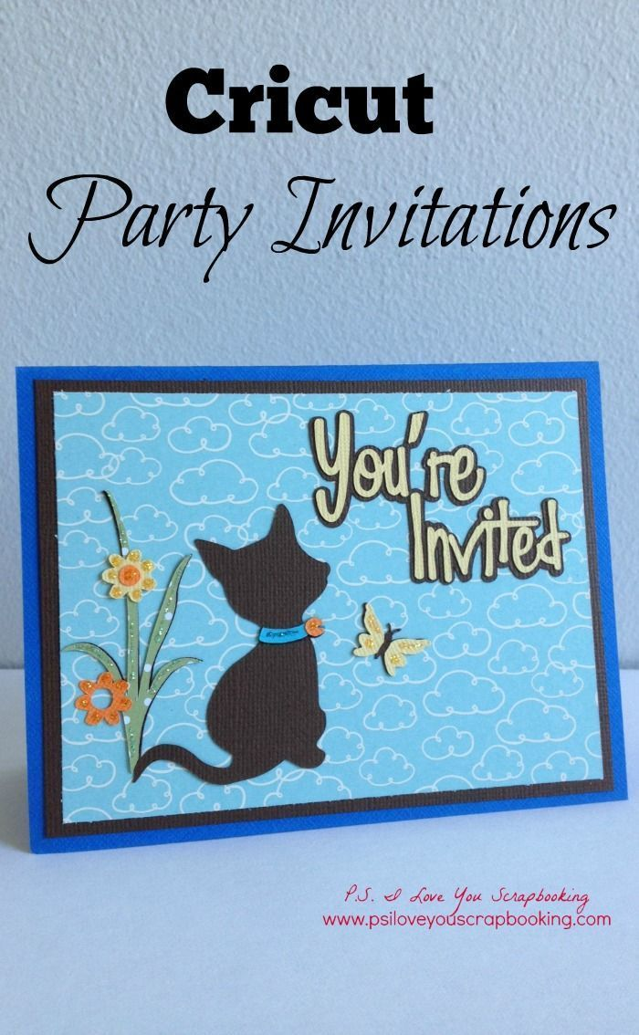 Cricut Kitten Party Invitations - The Cat, butterfly, and flowers are perfect for an invitation for a little girl's birthday. The cat is from Kate's ABC's, and the You're Invited is from the Paper Lace Cricut Cartridge. If you have the Cricut Explore, I have included a link to the cut file.