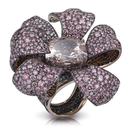 Кольцо Faberge розового золота 18k, из серебра с розовыми бриллиантами