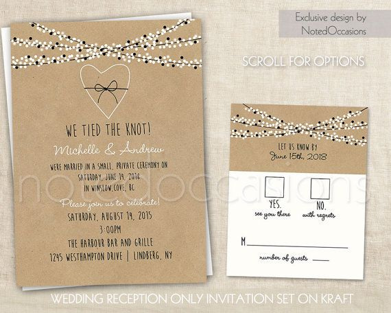 wedding reception only invitations on kraft paper rustic wedding invitations confetti lights wedding invites digital printable - Wedding Reception Only Invitations