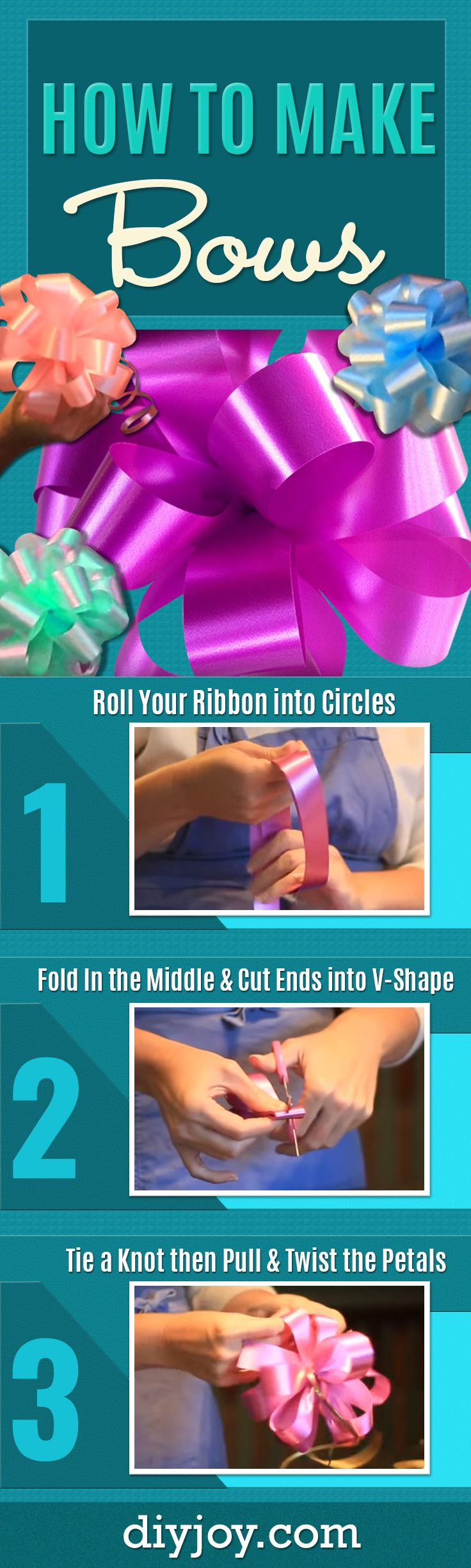 How To Make Bows - Learn How To Tie a Bow for DIY Christmas Presents and Holiday Gifts - Easy Bow Making Tutorial with Step by Step Instructions and Video - Gift Wrapping Made Simple With Big, Beautiful Bows - Creative Crafts and DIY Projects