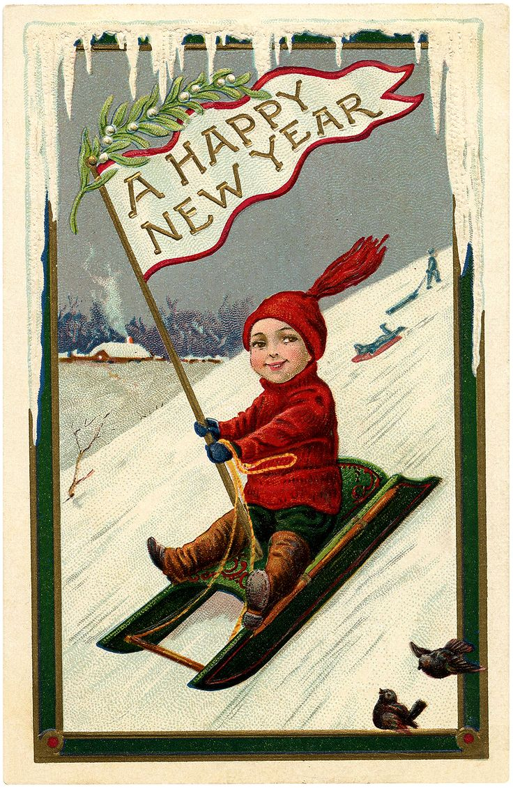 Cute Vintage New Year Sled Boy Image!