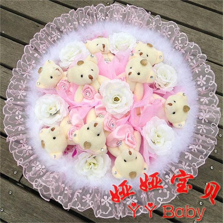 ==> [Free Shipping] Buy Best wholesale wedding decorative bears bouquet stuffed teddy bear dolls artificial flower cute retail Valentine/Graduation Gift Online with LOWEST Price | 32305157107