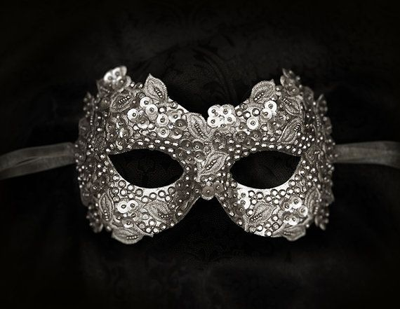 Sequined Silver Masquerade Mask With Rhinestones And