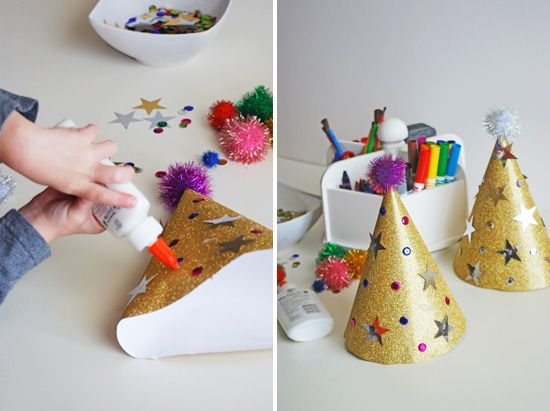 New Year's Eve- easy DIY party hats and other ideas