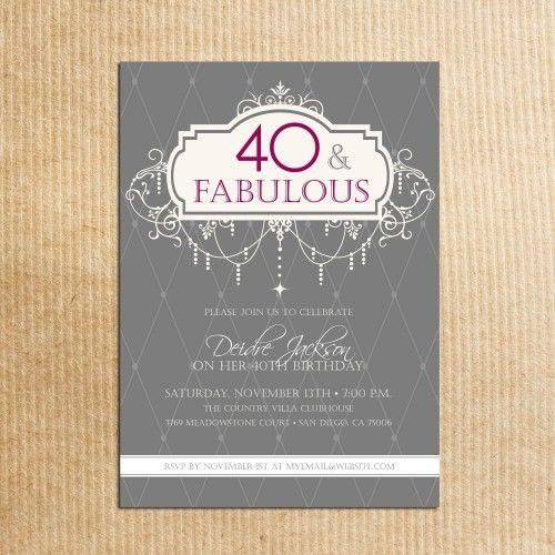 1000 images about Birthday – Handmade 40th Birthday Invitations